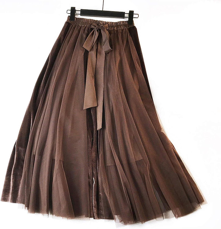Velvet Swing Silk Sliding Long Skirt High Waist Length Skirt Women's Skirts Elegant