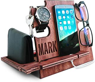Personalized Gifts for Men, Cell Phone Stand, Wooden Desk Organizer, iPhone Dock - Nightstand Charging Station, Phone Holder, Gift Ideas for Christmas, Birthday, Anniversary (Cherry)