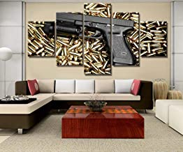Frame 5 Pieces HD Printing Large Pistol Bullet Painting Canvas Wall Art Picture Home Decoration Living Room Canvas Painting