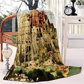 RECETHROWS Pieter Bruegel The Elder Babylon Plush Throw Blanket Soft Receiving Blanket Bed Throws Christmas Sofa Shawl Blanket Kid Nursery Emergency Blanket for Living Room