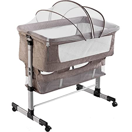 Lamberia 3 in 1 Bassinet for Baby, Easy Folding Sleeper with Mattress Included, Height Adjustable Bedside Travel Crib for Newborn Infant/Baby Boy/Baby Girl (Beige)