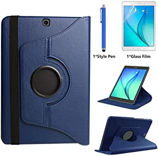 Case for Samsung Galaxy Tab A 9.7 inch (SM-P550 SM-T550 SM-T555) - 360 Degree Rotating Folio Stand Case Smart Protective Cover with Auto Wake/Sleep,Bonus Stylus Pen,Screen Film (Deep Blue)