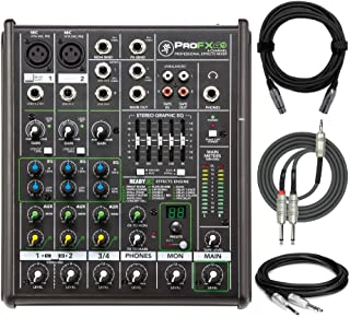 Mackie ProFX4v2 4-Channel Professional Effects Mixer Bundled with Knox XLR Cable, TRS Cable, and Breakout Cable (4 Items)