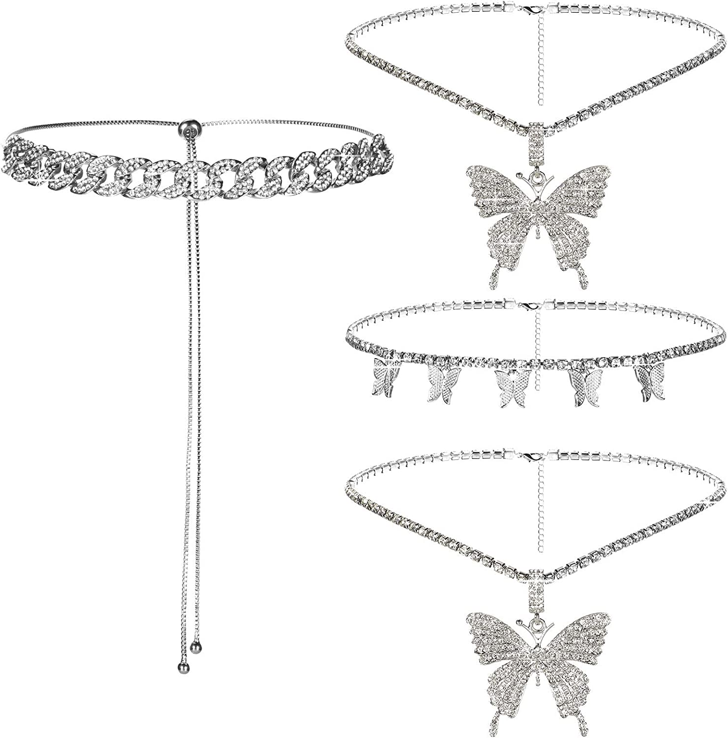 3 Pieces Butterfly Choker Necklace Butterfly Pendant Rhinestone Chain Layered Crystal Pendant Necklaces Butterfly Chain Jewelry for Women, 6 Matching Methods