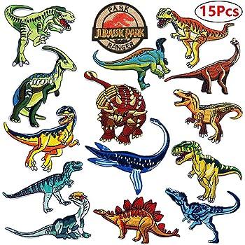 Dinosaur Iron On Patches Sew On Transfer T Rex Raptor Jurassic World Sew on
