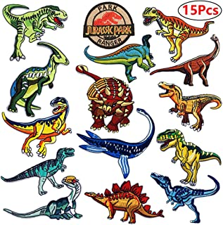 Dinosaur Iron on Patches Jurassic Park Tactical Embroidered Applique Patches Badge Morale Decoration Sew on Patches for Jacket Jeans Backpacks Hat Clothing (15 Pcs)