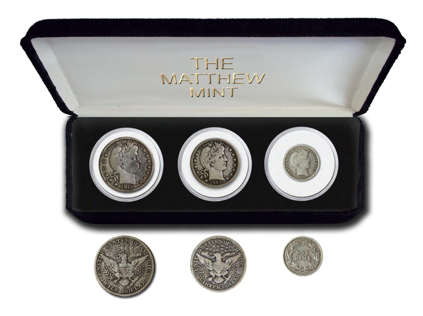 1892 Various Mint Marks Barber Three Coin Set Various Grades