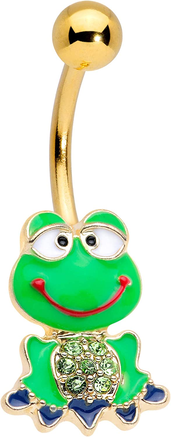 Body Candy Womens 14G Plated Steel Navel Ring Piercing Color Accent Green Goofy Frog Belly Button Ring