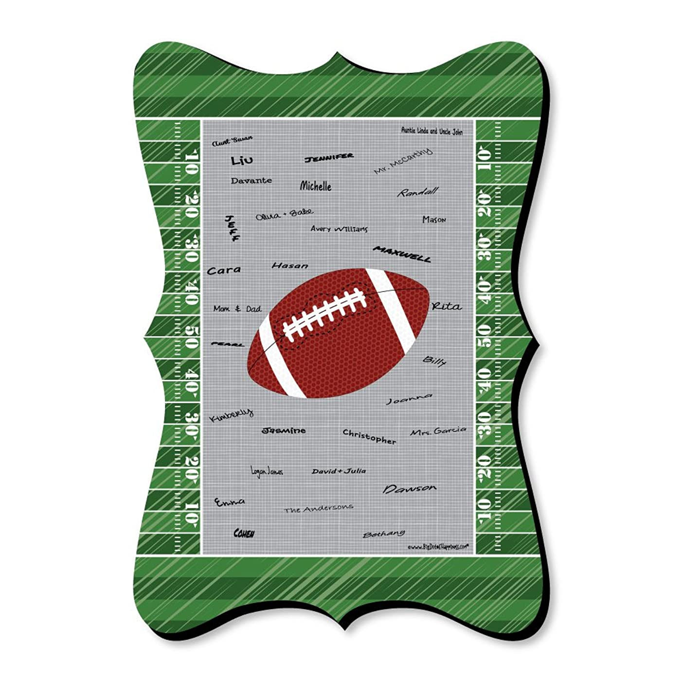 Big Dot of Happiness End Zone - Football - Unique Alternative Guest Book - Baby Shower or Birthday Party Signature Mat