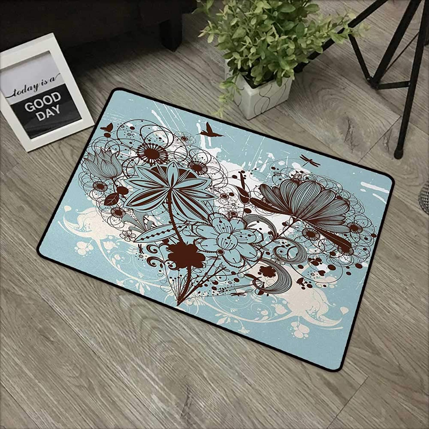 Interior Door mat W35 x L59 INCH Grunge,Murky Floral Dragonfly Background with Swirls and Petal Retro Graphic,Light bluee Chestnut Brown with Non-Slip Backing Door Mat Carpet