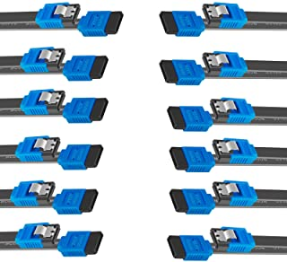 BENFEI SATA Cable III, 12 Pack SATA Cable III 6Gbps Straight HDD SDD Data Cable with Locking Latch 18 Inch Compatible for ...