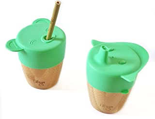 Citron Bamboo Natural Organic Drinking cup with 2 silicone lids (sippy and straw) and 1 straw- For Babies and toddlers (Gr...