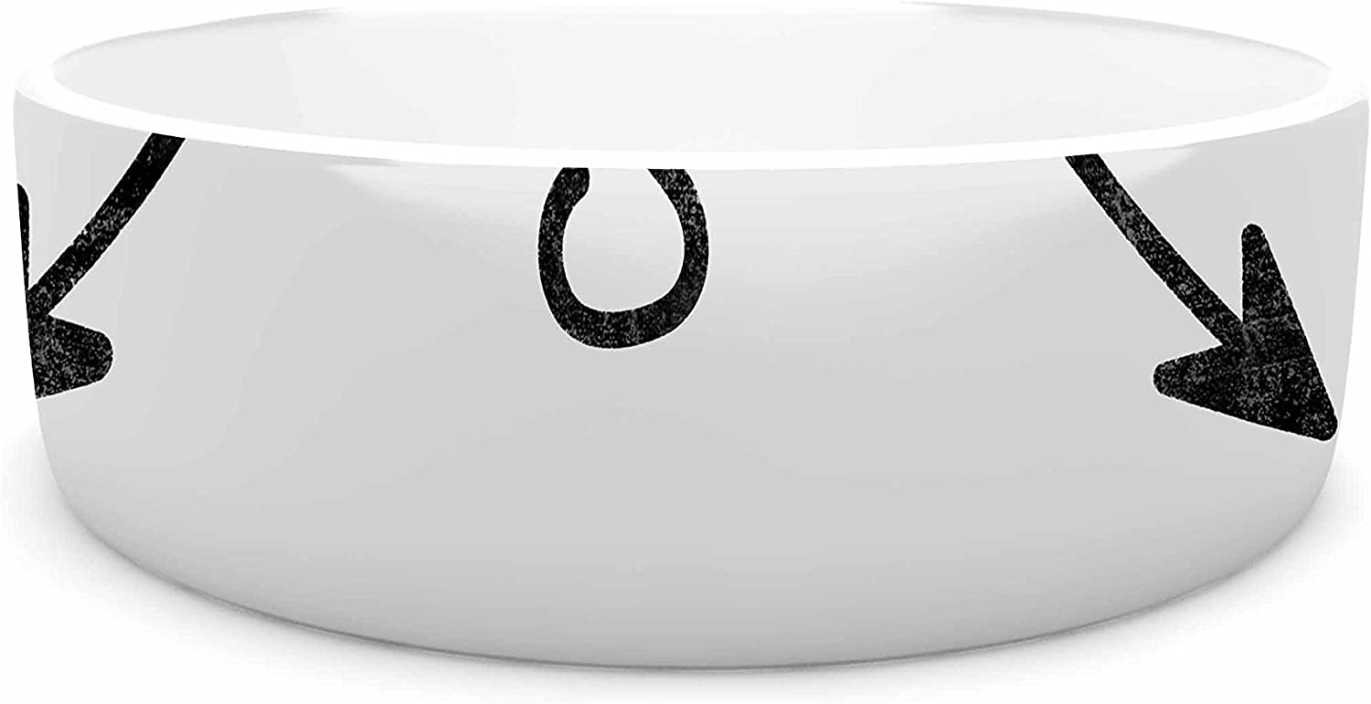KESS InHouse Draper Cardinal direction w  White Illustration Pet Bowl, 7