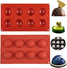 (2 Packs) 8 Cavity Semi Silicone Mold/Chocolate Bombs Mold/Round Shape Half Sphere Mold for Cake, Jelly, Pudding, Dome Mou...