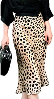 Women's Elegant Leopard Printed Zipper Elastic Waist Midi Skirt Stretch Pencil Skirt