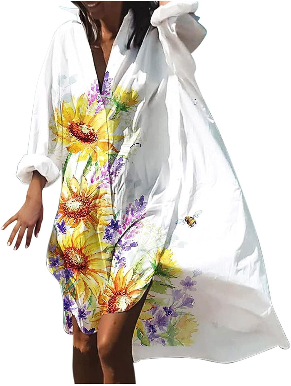 iQKA Women Casual Loose Shift Dresses Floral Print Long Sleeve V Neck Oversized Shirt Dress Holiday Beach Sundress