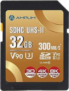32GB UHS-II V90 SDXC SD Card - Amplim Blazing Fast 300MB/s (2000X) UHSII U3 Extreme High Speed 32 GB SD XC Memory Card for...