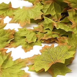SunAngel Artificial Maple Leaves, Autumn Fall Leaves Bulk Assorted Mixed Garland Wedding House Decorations (150pcs, Green)