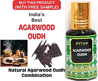 Attar Agarwood Oudh 12 ml. SOUDI Oudh Perfumes For Men 24 HOUR'S LONG LASTING PERFUME 100% Original UAE + Combo of Natural Attar Chandan/Sandalwood Kasturi, Oudh, Gulab, Mogra (3 ml) -5 Pieces
