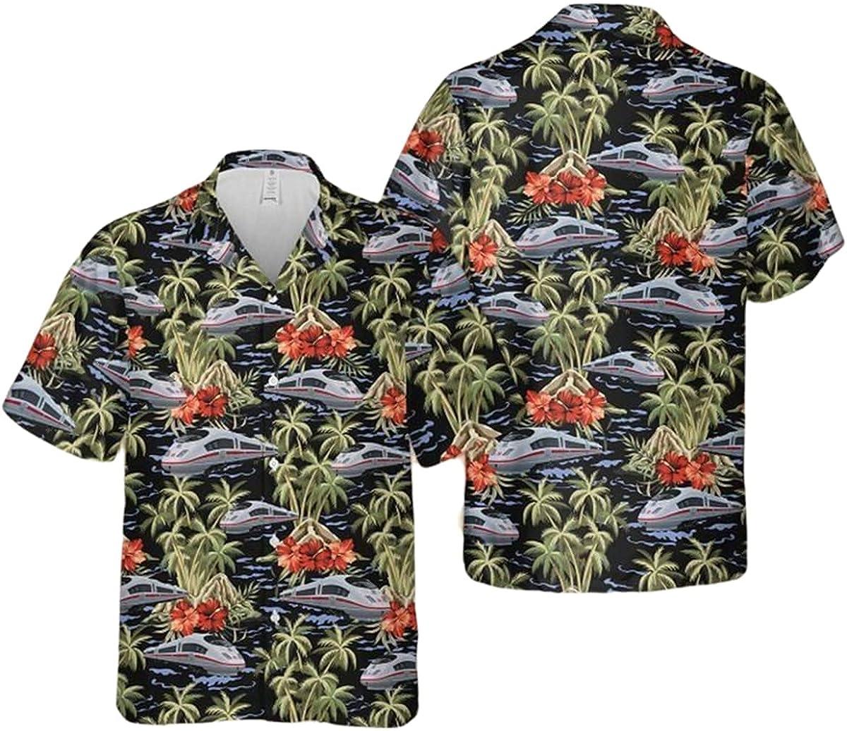 German Deutsche Bahn Ice Palm Hawaiian Tree Max 80% OFF Shirt Pattern Unisex Dallas Mall