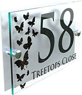 MODERN DECORATIVE BUTTERFLIES HOUSE SIGN PLAQUE DOOR NUMBER