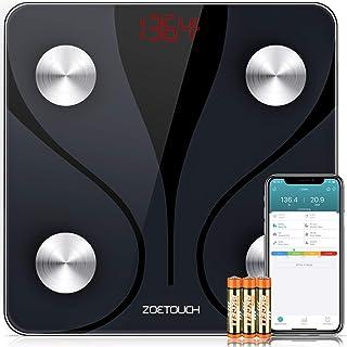 مقیاس چربی بدن ZOETOUCH با iOS و Android App، مقیاس هوشمند BMI مقیاس وزن بیسیم بیسیم بیسیم، Analyzer مانیتورینگ ترکیب بدن - Black