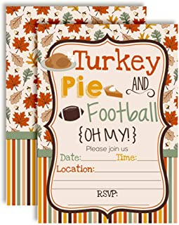 Turkey Pie & Football Oh My! Thanksgiving Party Invitations, 20 5