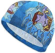 Free-4 Swim Cap for Men Women Cold Cartoon Turkey Swimming Hat for Adult Swimming Pool Big Head Hair Guys Girl Bathing Cap White