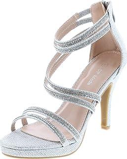 TOP Moda Dressy Formal Sandals High Heel Ankle Strap Open Toe Inna-1 Sandals,Silver,10