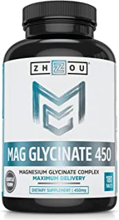 Zhou Magnesium Glycinate Complex 450 mg | Vegan, Non-GMO, No Gluten or Soy, Bioavailable | 90 Servings, 180 Tablets