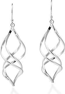 Trendy 3D Spiral .925 Sterling Silver Dangle Earrings