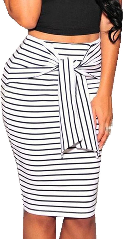 Taiduosheng Womens Plus Size Stripe Knee-Length Elastic Waist Stretchy Office Zipper Skirt OL Office Casual Skirt