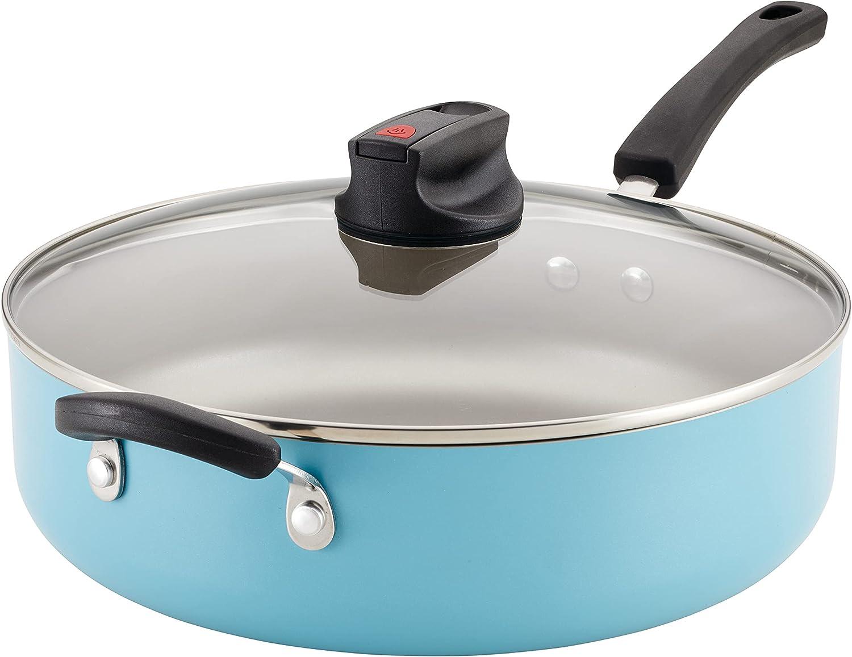 Farberware Smart Control Nonstick Jumbo Cooker/Saute Pan with Lid and Helper Handle, 6 Quart, Aqua