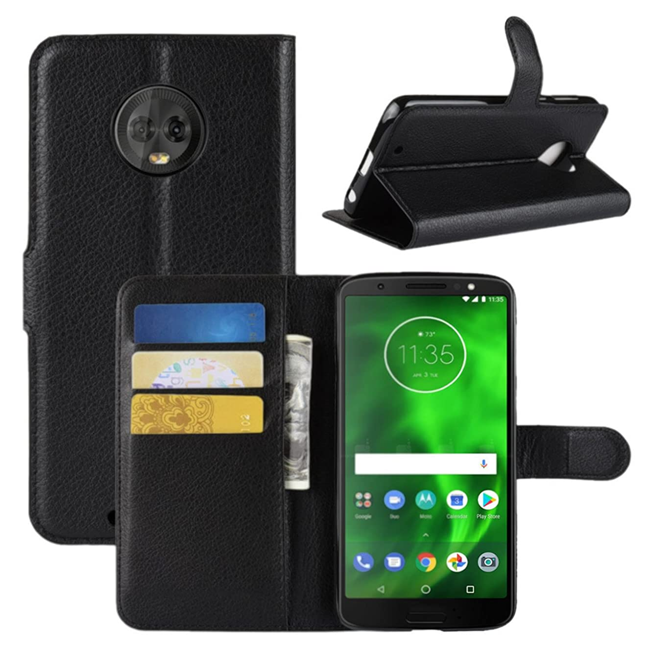 Moto G6 Case, Moto G 6th Gen Case, Fettion Premium PU Leather Wallet Flip Phone Protective Case Cover with Card Slots for Motorola Moto G6 (6th Generation) Smartphone (Black)