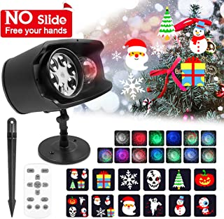 Christmas Projector Lights Outdoor Ocean Wave Projector Light, Waterproof 2-in-1 Halloween Projector Lights with Remote Control,No Slide 9 Holiday Pattern Christmas Xmas Party Yard Garden Decoration