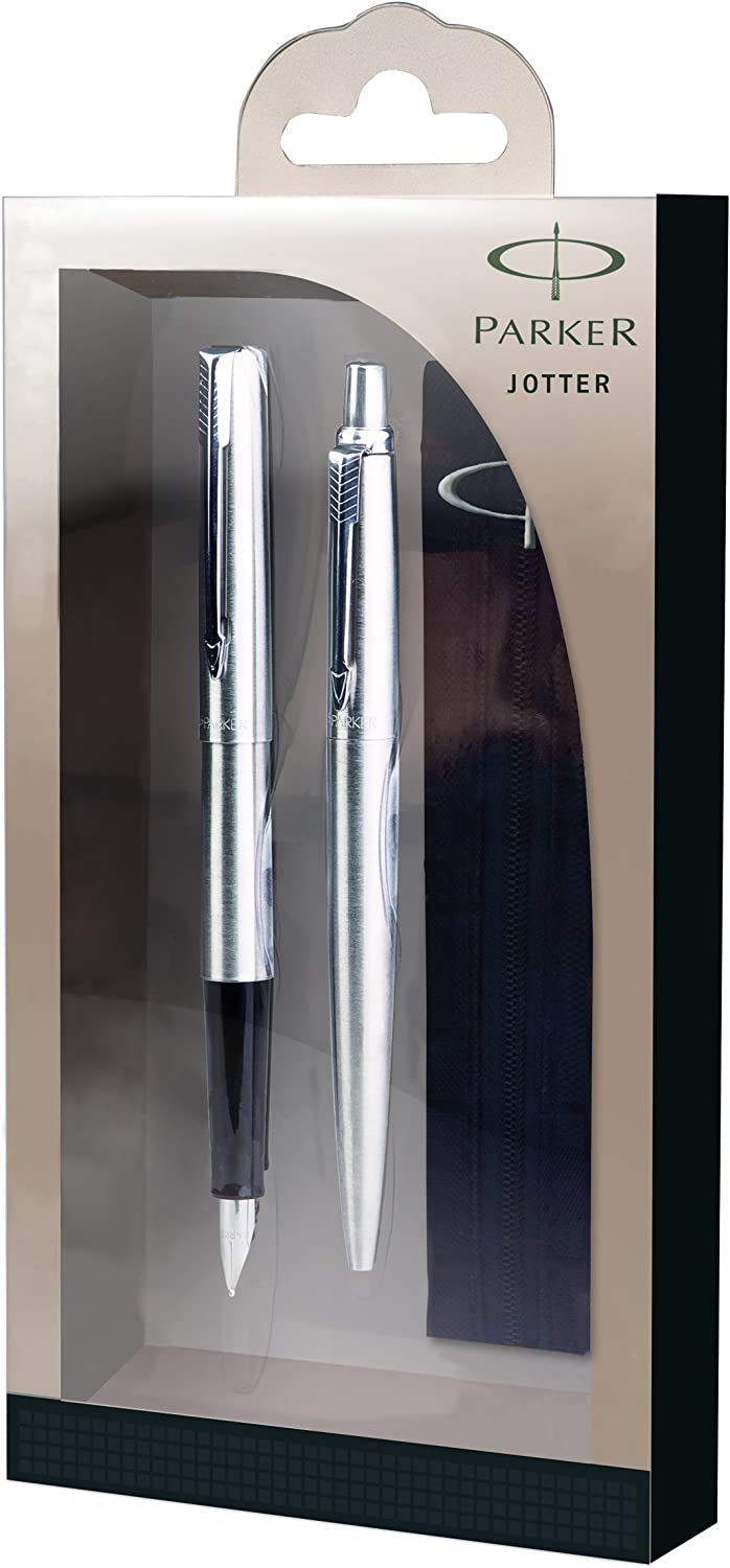 Parker Jotter Stainless store Steel Chrome Trim Pen Free shipping New Ball Fountain Pe