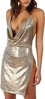 Metallic Plunge Cowl Party Dress Gold Sexy Slit Backless Women Summer Dresses Mini Bodycon Draped Dress