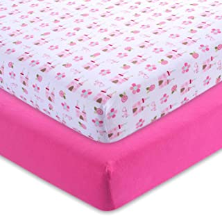 M&Y Fitted Crib Sheets, Pink + Castle, 52x28x9 in