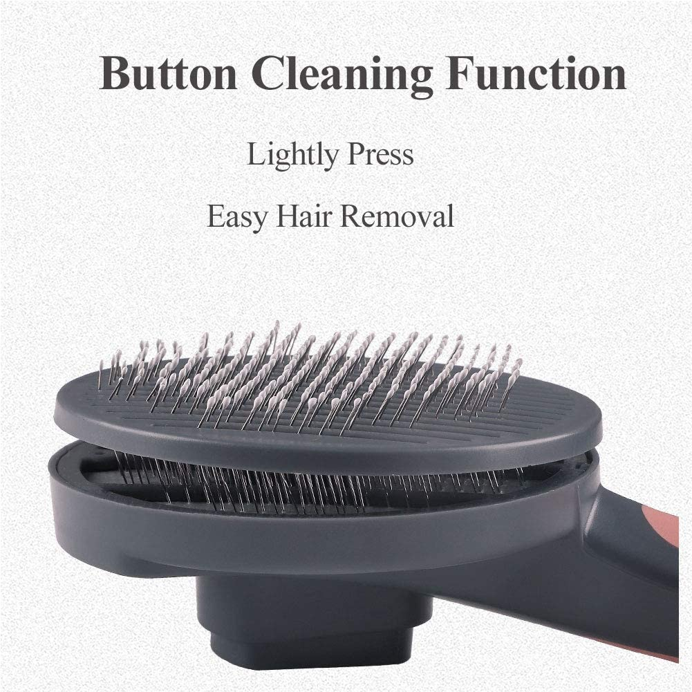 DCYSO Cat Brush Dogs Brush - Self Cleaning Slicker Pet Brush for Cats and Dogs,Cat Grooming,Dog Brush for Shedding Pink