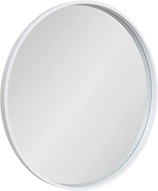 """Kate and Laurel Travis Round Wood Wall Mirror, 31.5"""" Diameter, White, Modern Wall Décor Accent"""