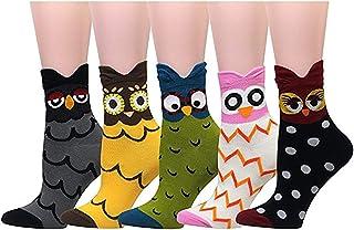 750b4aac40560 Mescara 5 Paires Chaussettes en Cotton Femme Drôle Mignon Animaux Chiens  Hibou Peinture Dessin Anime Doux
