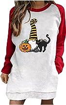 pour Sweat à capuche pour femme - Grande taille - Décontracté - Imprimé Halloween - Mode - Pull long - Pull sans capuche
