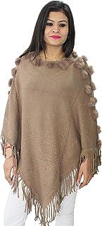 HAUTEMODA Women's Wool Poncho (Ad006Br111_Brown_Free Size)