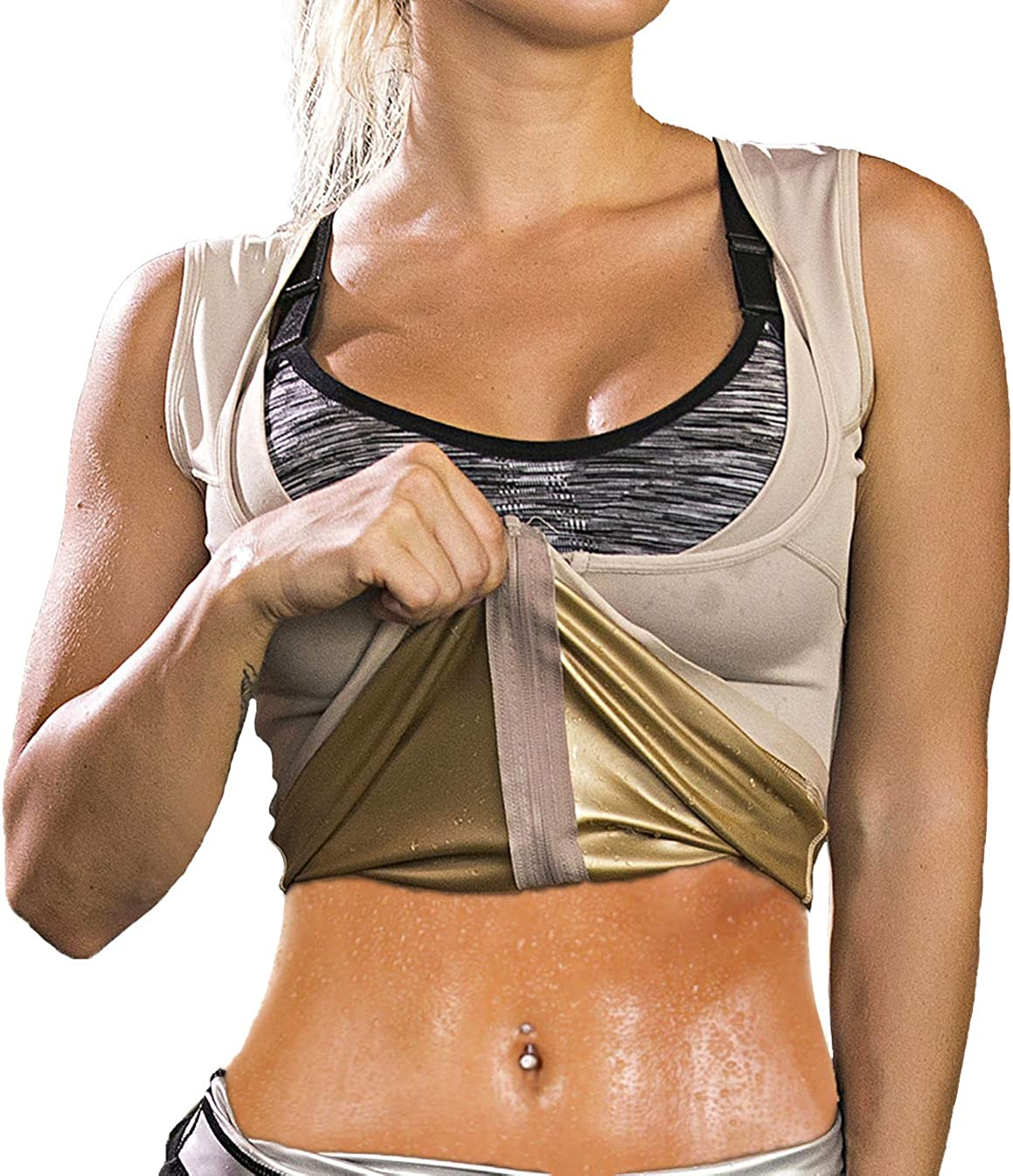 HOMETA Sweat Vest for Women Waist Trainer Vest for Women Slimming Polymer Sauna Vest Tank Top for Weight Loss Body Shaper Shirts : Sports & Outdoors