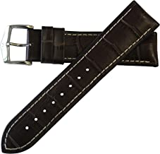 Hirsch Performance George Calfskin Leather Alligator Embossing Watch band w/Rubber Lining Brown w/White Stitching 24mm