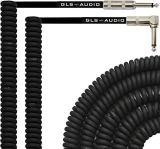 GLS Audio 20 Foot Curly Guitar Instrument Cable - Right Angle 1/4 Inch TS to Straight 1/4 Inch TS 20 FT Cord 20 Feet Phono...