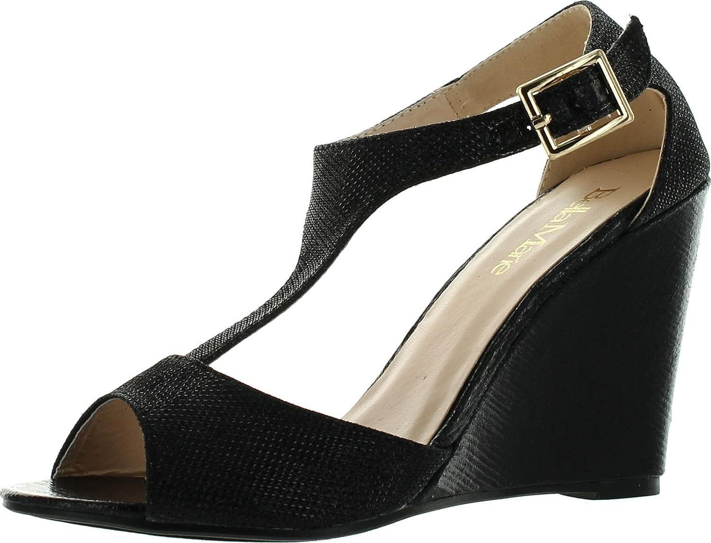 Bella Marie Soho-13 Womens Buckle T-Strap Shinny Glitters Peep Toe Wedge Sandal