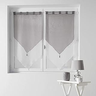 douceur d'intérieur 1620387 Paire Pompon Voile Bicolore Blanc / Gris 2x60 / 120 cm