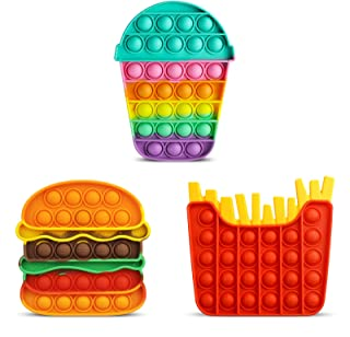 اسباب بازی Aemotoy 3PCS Push Bubble Fidget Fidget برای کودکان بزرگسالان سیلیکون پاپ رنگین کمان همبرگر فشار اسباب بازی اسباب بازی های استرس اضطراب هدیه تازگی برای اوتیسم ADD ADHD ، جام سرخ کرده همبرگر رنگارنگ