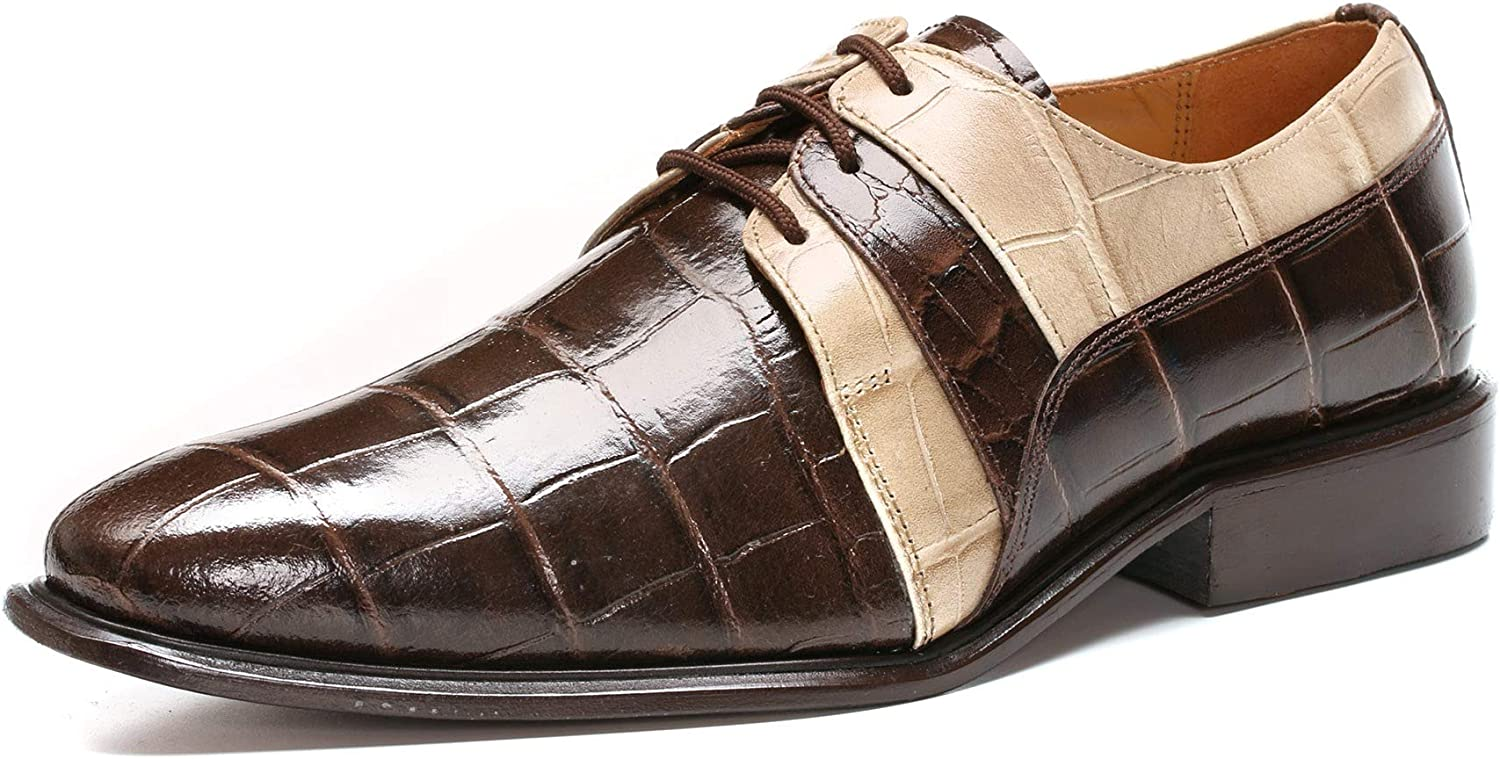 LIBERTYZENO Oxford Dress Shoes for Men Leather Croco Lizard Cap Toe Casual Lace Up Shoes